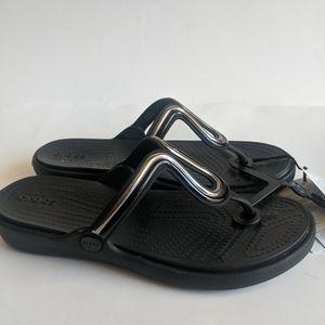 Crocs Sanrah Metalblock flat flip women's 9